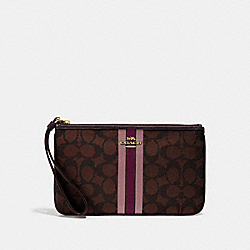 LARGE WRISTLET IN SIGNATURE JACQUARD WITH STRIPE - BROWN MULTI/IMITATION GOLD - COACH F43009