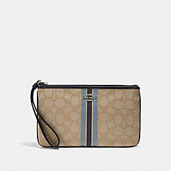 LARGE WRISTLET IN SIGNATURE JACQUARD WITH STRIPE - KHAKI MULTI /SILVER - COACH F43009