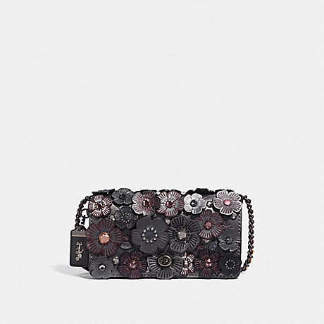 COACH DINKY WITH CRYSTAL TEA ROSE - METALLIC GRAPHITE/PEWTER - F43016