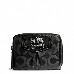COACH MADISON OP ART SATEEN MEDIUM WALLET - SILVER/BLACK - F43257