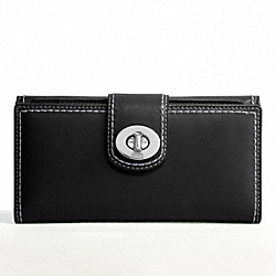 TURNLOCK LEATHER CHECKBOOK WALLET