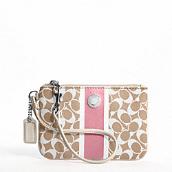 COACH COACH HERITAGE STRIPE WRISTLET - SILVER/LIGHT KHAKI/PAPAYA - F43894