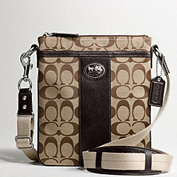 COACH SUTTON SWINGPACK IN SIGNATURE FABRIC - SILVER/KHAKI/MAHOGANY 2 - F43976