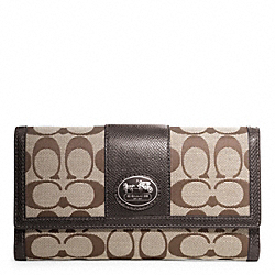 COACH SUTTON SIGNATURE CHECKBOOK WALLET - ONE COLOR - F44017