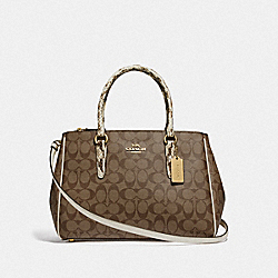 LARGE SURREY CARRYALL IN SIGNATURE CANVAS - KHAKI MULTI /IMITATION GOLD - COACH F44956