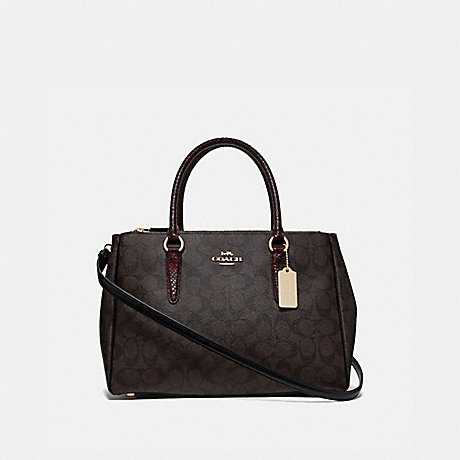 COACH LARGE SURREY CARRYALL IN SIGNATURE CANVAS - BROWN BLACK/MULTI/IMITATION GOLD - F44956