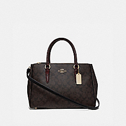 LARGE SURREY CARRYALL IN SIGNATURE CANVAS - BROWN BLACK/MULTI/IMITATION GOLD - COACH F44956