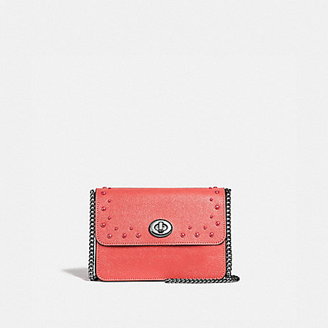 COACH BOWERY CROSSBODY WITH STUDS - CORAL/SILVER - F44964