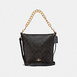 MINI ABBY DUFFLE IN SIGNATURE CANVAS - BROWN/BLACK/IMITATION GOLD - COACH F45068