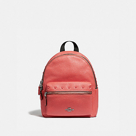 COACH MINI CHARLIE BACKPACK WITH STUDS - CORAL/SILVER - F45070