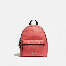 MINI CHARLIE BACKPACK WITH STUDS - CORAL/SILVER - COACH F45070