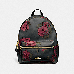 CHARLIE BACKPACK WITH JUMBO FLORAL PRINT - BLACK/CHERRY MULTI/IMITATION GOLD - COACH F45313