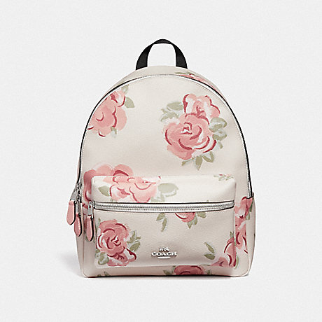 COACH CHARLIE BACKPACK WITH JUMBO FLORAL PRINT - CHALK/PETAL MULTI/SILVER - F45313