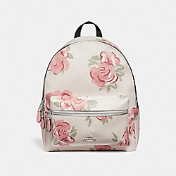 CHARLIE BACKPACK WITH JUMBO FLORAL PRINT - CHALK/PETAL MULTI/SILVER - COACH F45313