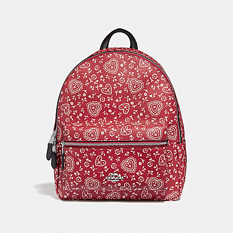 COACH MEDIUM CHARLIE BACKPACK WITH LACE HEART PRINT - RED MULTI/SILVER - F45315