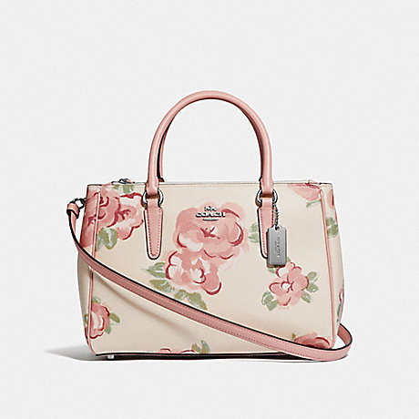 COACH SURREY CARRYALL WITH JUMBO FLORAL PRINT - CHALK/PETAL MULTI/SILVER - F45316