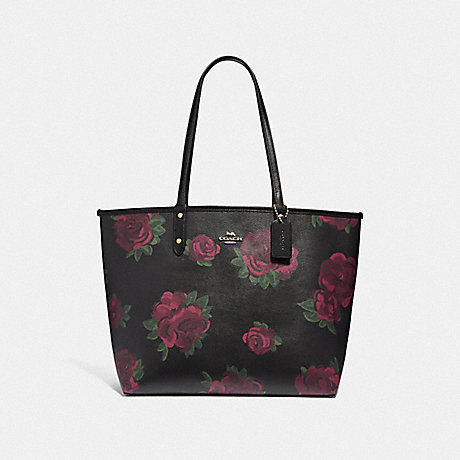 COACH REVERSIBLE CITY TOTE WITH JUMBO FLORAL PRINT - BLACK MULTI/BLACK/IMITATION GOLD - F45317
