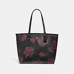 REVERSIBLE CITY TOTE WITH JUMBO FLORAL PRINT - BLACK MULTI/BLACK/IMITATION GOLD - COACH F45317