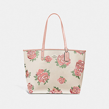 COACH REVERSIBLE CITY TOTE WITH JUMBO FLORAL PRINT - CHALK MULTI/PETAL/SILVER - F45317