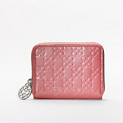 CHELSEA EMBOSSED PATENT ZIP CARD CASE - f45838 - 32083