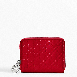 COACH CHELSEA EMBOSSED PATENT ZIP CARD CASE - ONE COLOR - F45838
