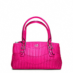 COACH MADISON GATHERED LEATHER SMALL BAG - SILVER/HOT PINK - F45928