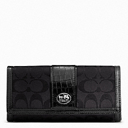 COACH SUTTON SIGNATURE SLIM ENVELOPE - SILVER/BLACK/BLACK - F45965