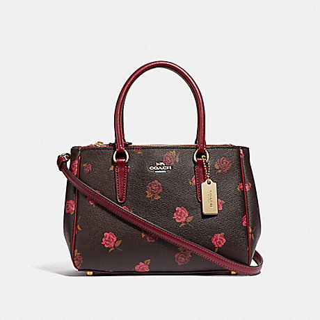 COACH MINI SURREY CARRYALL WITH TOSSED PEONY PRINT - OXBLOOD 1 MULTI/IMITATION GOLD - F46282