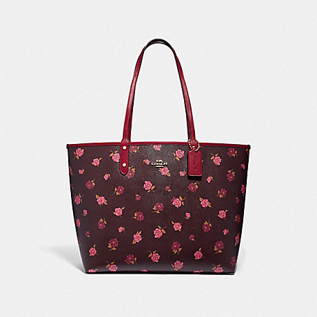 COACH REVERSIBLE CITY TOTE WITH TOSSED PEONY PRINT - OXBLOOD 1 MULTI/CHERRY/IMITATION GOLD - F46286