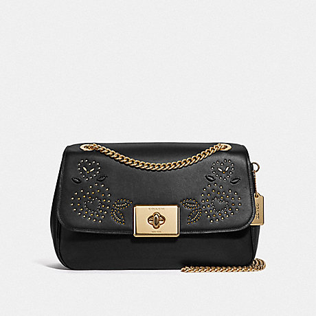 COACH LARGE CASSIDY CROSSBODY WITH HEART BANDANA RIVETS - BLACK/MULTI/IMITATION GOLD - F46290