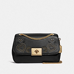 LARGE CASSIDY CROSSBODY WITH HEART BANDANA RIVETS - BLACK/MULTI/IMITATION GOLD - COACH F46290