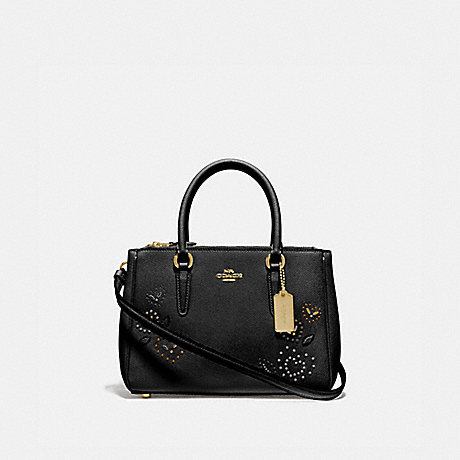 COACH MINI SURREY CARRYALL WITH HEART BANDANA RIVETS - BLACK/MULTI/IMITATION GOLD - F46292