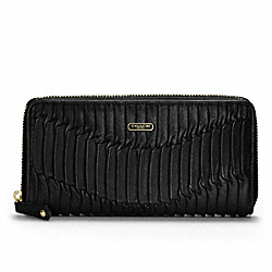 COACH MADISON GATHERED LEATHER ACCORDION ZIP - BRASS/BLACK/BLACK - F46481