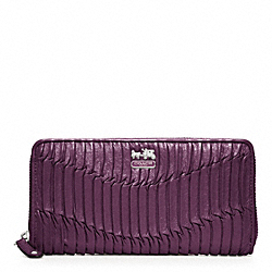 COACH MADISON GATHERED LEATHER ACCORDION ZIP WALLET - SILVER/AUBERGINE - F46481