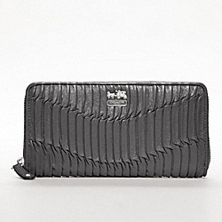COACH MADISON GATHERED LEATHER ACCORDION ZIP WALLET - SILVER/GRAPHITE - F46481