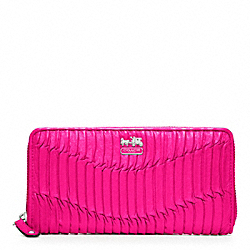COACH MADISON GATHERED LEATHER ACCORDION ZIP WALLET - SILVER/HOT PINK - F46481