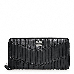 COACH MADISON GATHERED LEATHER ACCORDION ZIP - SILVER/BLACK SILVER - F46481
