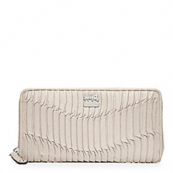 COACH MADISON GATHERED LEATHER ACCORDION ZIP WALLET - SILVER/PARCHMENT - F46481