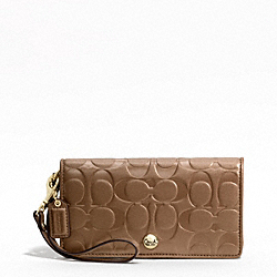 EMBOSSED LEATHER DEMI CLUTCH