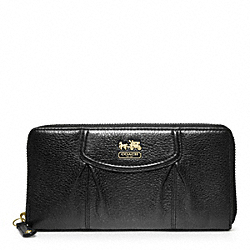 COACH MADISON LEATHER ACCORDION ZIP - BRASS/BLACK - F46601
