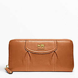 COACH MADISON LEATHER ACCORDION ZIP - BRASS/COGNAC - F46601