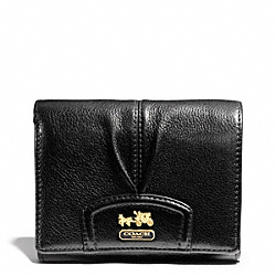 MADISON LEATHER COMPACT CLUTCH - f46604 - BRASS/BLACK