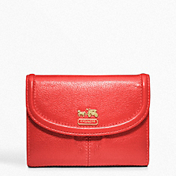 COACH MADISON LEATHER MEDIUM WALLET - BRASS/PAPAYA 2 - F46608