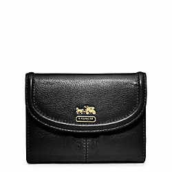 COACH MADISON LEATHER MEDIUM WALLET - BRASS/BLACK - F46608
