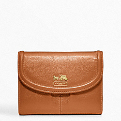 COACH MADISON LEATHER MEDIUM WALLET - BRASS/COGNAC - F46608