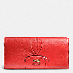 COACH MADISON SLIM ENVELOPE WALLET IN LEATHER - BRASS/PAPAYA 2 - F46611
