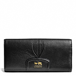 COACH MADISON LEATHER SLIM ENVELOPE WALLET - BRASS/BLACK - F46611