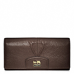 COACH MADISON LEATHER SLIM ENVELOPE WALLET - BRASS/MAHOGANY - F46611