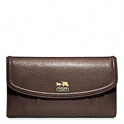 COACH MADISON LEATHER CHECKBOOK WALLET - BRASS/MAHOGANY - F46615