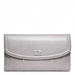COACH MADISON LEATHER CHECKBOOK WALLET - SILVER/PEBBLE GREY - F46615